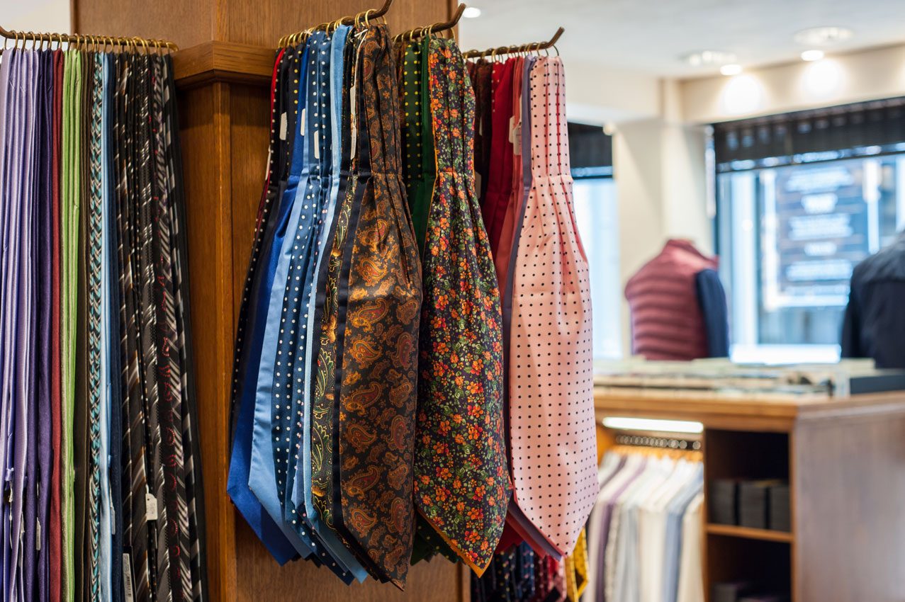 Traditional cravats at Chadds Menswear in Norwich