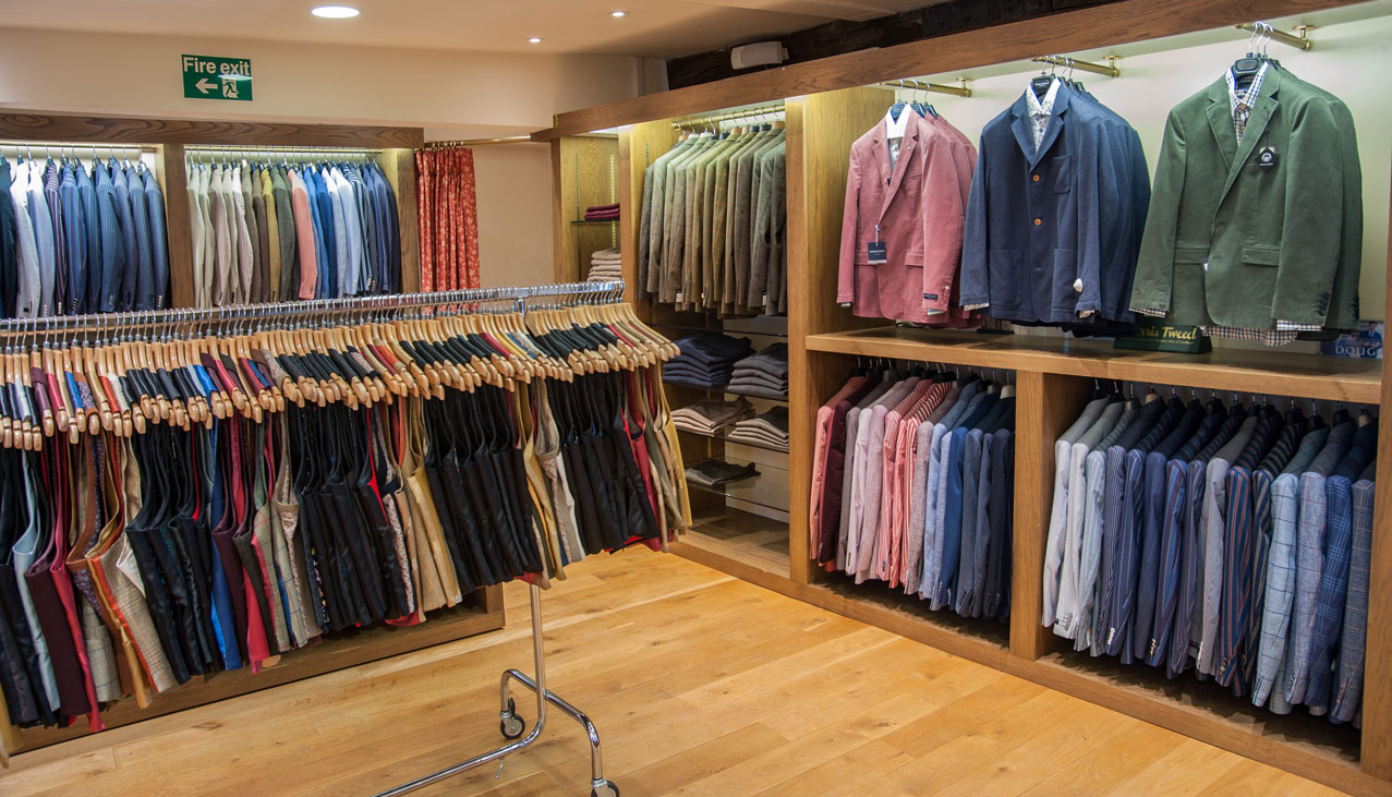Casual jacket department upstairs in Chadds Menswear in Norwich