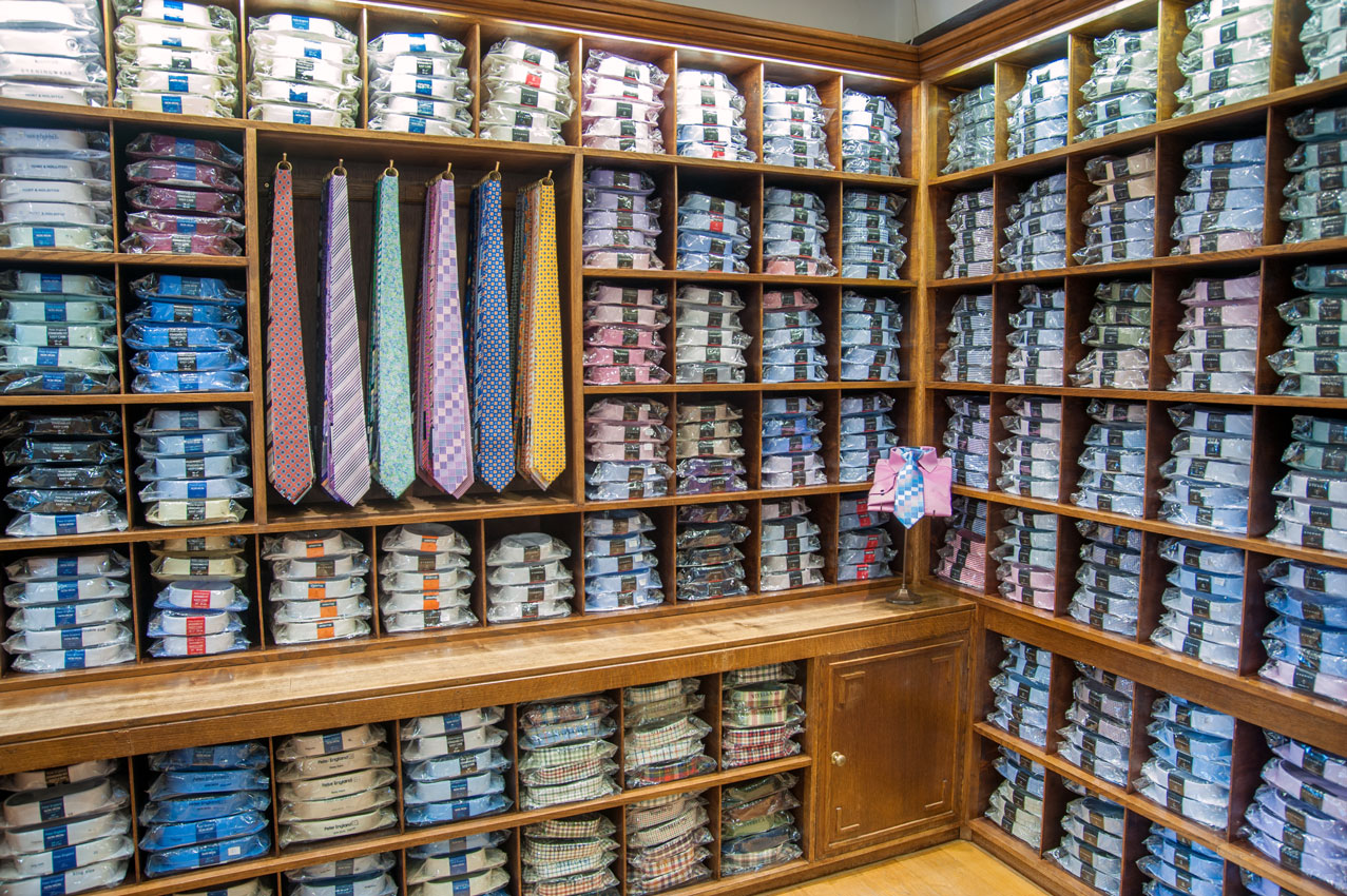 A wall of formal and casual shirts at Chadds Menswear in Norwich