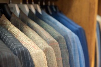 Close up of suits at Chadds Menswear