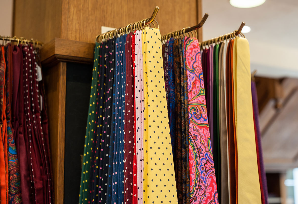 Wide selection of ties at Chadds Menswear